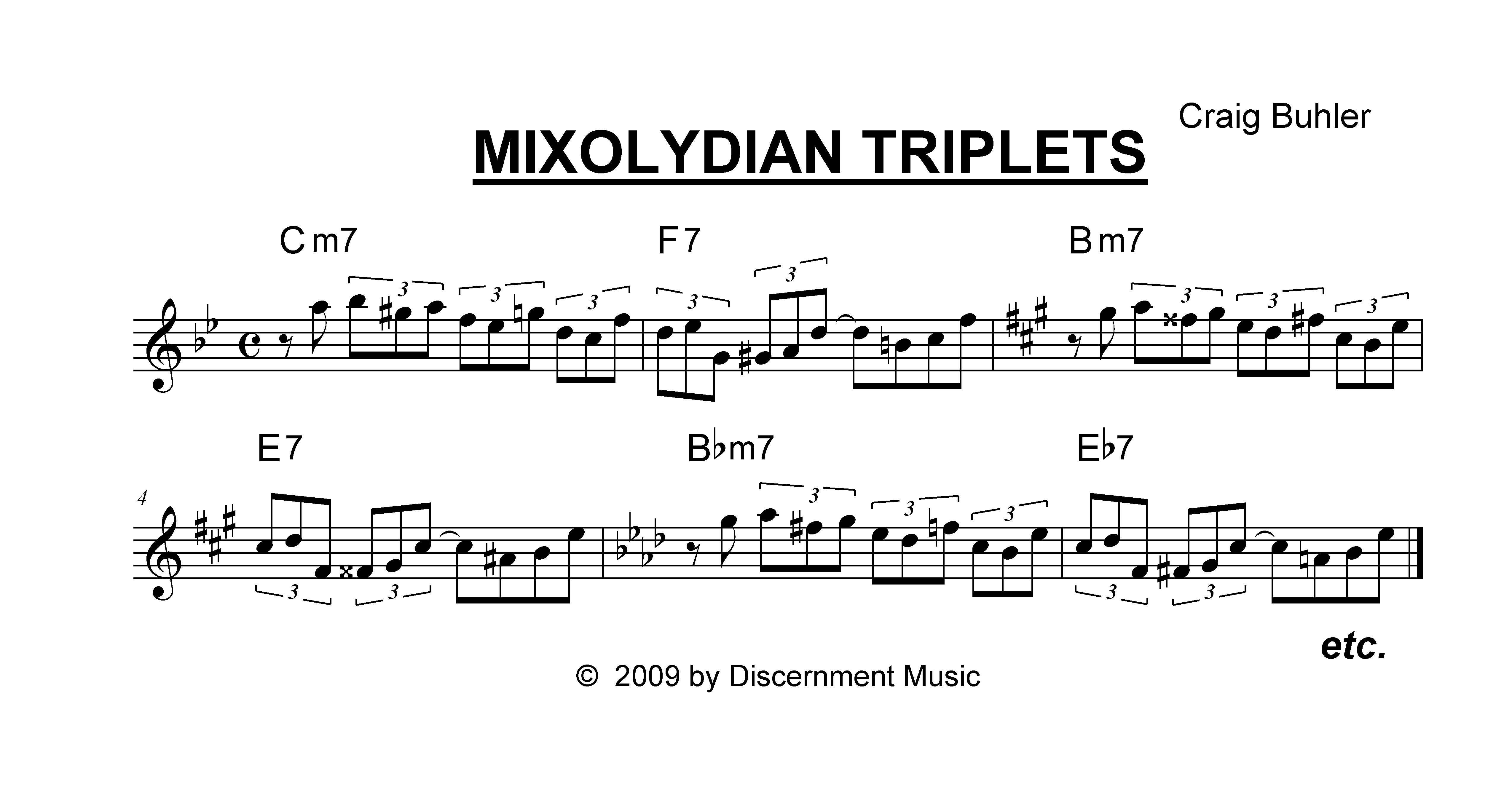 Ii V Progressions Chords Mixolydian Triplets