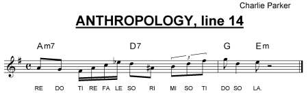 ANTHROPOLOGY by CHARLIE PARKER (BIRD) line 14