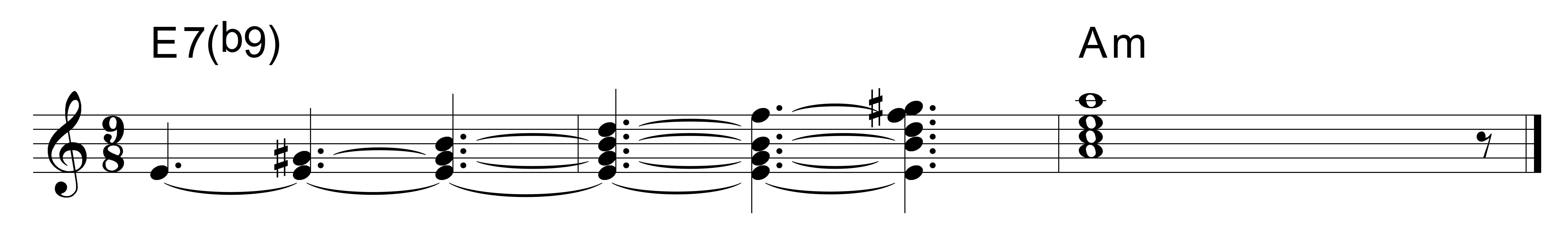 Dominant 7b9 chord e7b9 to am hexwebz Choice Image